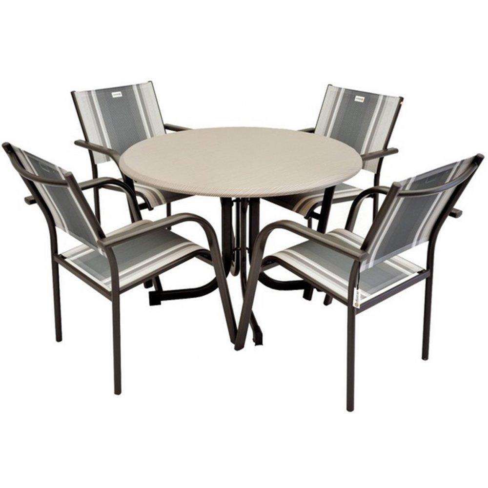 JUSThome Gartenmöbel Sitzgruppe Albergo Set 4x Stuhl + Tisch in Metall-Optik Anthrazit/Grau/Grün bestellen