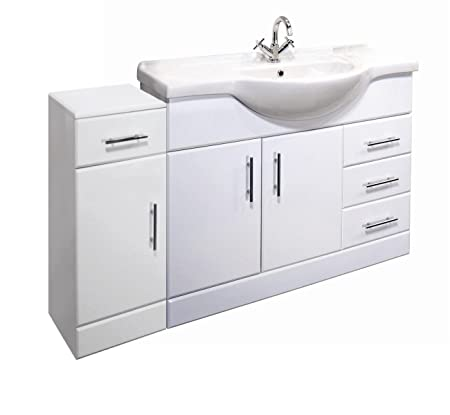1300mm High Gloss White Bathroom Furniture Set - Vanity Cabinet, Ceramic Basin & Cupboard Unit