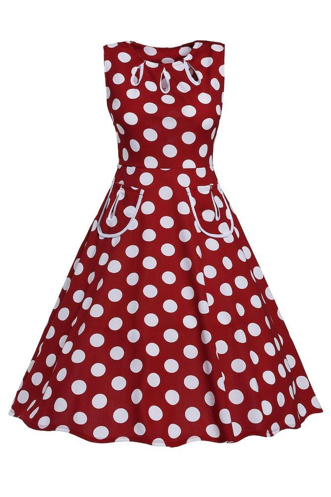 Roswear Women's Vintage 1950s Polka Dot A Line Belted Skater Dress 2