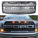 For 2009-2014 Ford F-150 Raptor Type Grill Upper Gray W/Amber LED Lights XL STX FX4