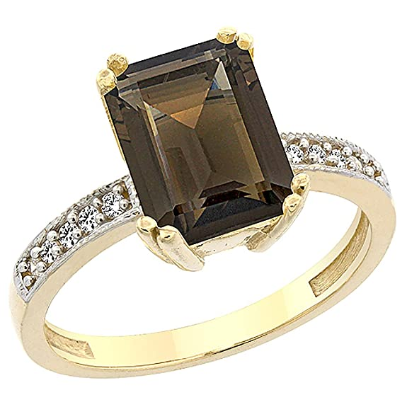 14ct Yellow Gold Natural Smoky Topaz Ring Octagon 10x8mm Diamond Accent, sizes J to T