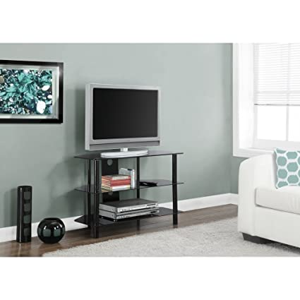 """BLACK METAL 36""""L TV STAND WITH TEMPERED BLACK GLASS (SIZE: 36L X 16W X 24H)"""