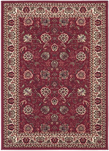 Ottomanson Ottohome Collection Traditional Floral Design Modern Area Rug with Non-Skid (Non-Slip) Rubber Backing, Dark Red