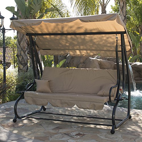 BELLEZZA© Outdoor Canopy Porch Swing/Bed Hammock with Steel Frame, Adjustable Canopy, Beige