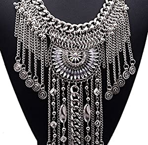 Girl Era Womens Tassels Chain Necklaces Crystal Lotus Unique Pendant Necklace(white)