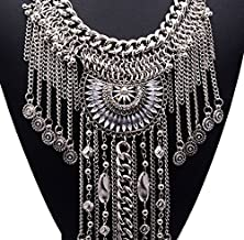 buy Girl Era Womens Tassels Chain Necklaces Crystal Lotus Unique Pendant Necklace(White)