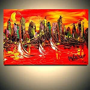 Large pop art original oil painting ready to for Oil paintings for sale amazon