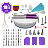 FantasyDay 106-Piece Cake Decorating Supplies Baking Tools with 54 Piping Nozzles Icing Tips, 25 Disposable Bags, 12 cupcake, 2 Reusable Pastry Bags, 3 Couplers, 2 Spatulas, 3 Scrapers, Cake Turntable (Color: #6)