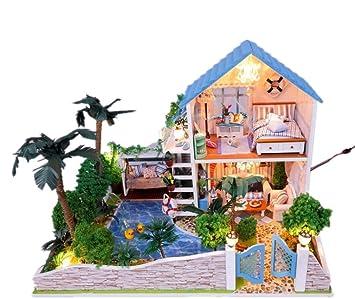 Maison De PoupéesYard romantique petite Doll House Mini maison meubles Kit décoration maison LED Handcraft en bois poupées salle cadeaux