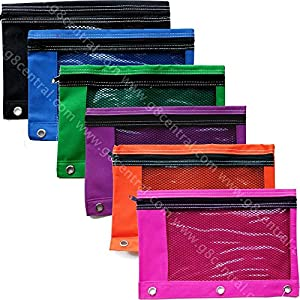 BAZIC Bright Color 3-Ring Pencil Pouch w/ Mesh Window, 6 pcs