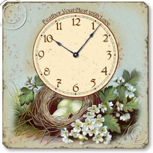 Item C6024 Vintage Style Bird'S Nest Tabletop Clock
