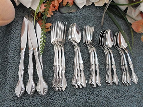 SATIN CANTATA Oneida 18/8 USA Community Stainless Flatware 24pcs 4 Place Settings