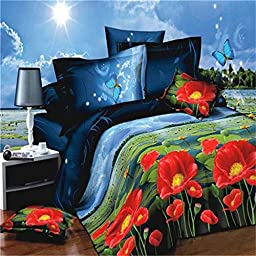 Royal- 3D Reactive printed bed sheets quilt pillowcases Imitation oil painting four sets