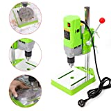 Mini Electric Bench Drill Press Stand Mini Portable Press Workbench Wood Drilling Machine Iron Wood for DIY 710W (USA Stock) (Color: Green)