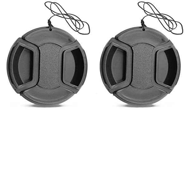 2 Pack 55MM Center Pinch Lens Cap for Nikon D3400 D5600 AF-P 18-55mm / Canon EOS M6 M5 18-150mm / Sony DSC-HX400 HX300 55mm Lens