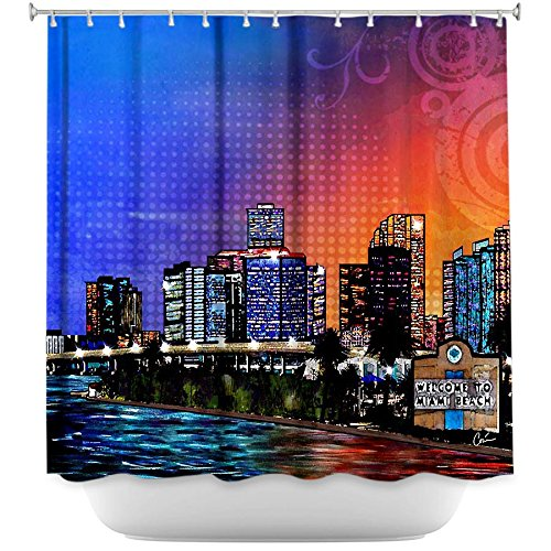 Shower curtain Decorative, Unique, Cool, Fun, Funky Bathroom - Miami Beach Skyline