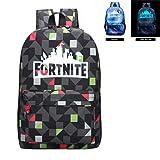 Fortnite Backpack Battle Royale School Bag Luminous Backpack for Teen Boys and Girls Travel Hiking (Color: Rhombus Black, Tamaño: 12.2*7.0*17.7Inch)