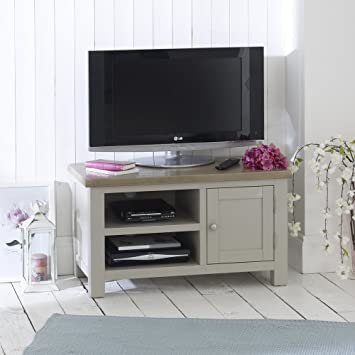 Grey Stone Painted Small TV Unit with Oak Top