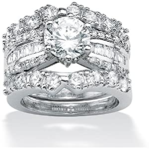 ParisJewelry 3 Carat Diamond Platinum over Sterling Silver Ring Set