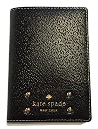 Kate Spade Wellesley Passport Holder Black Leather Case WLRU1236