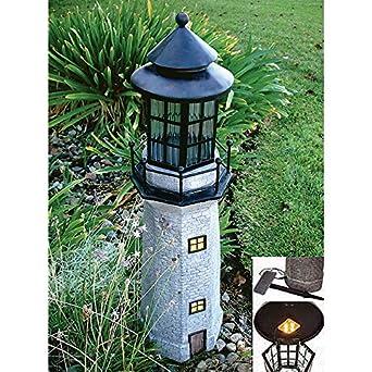 large lighthouse fiberglass solar light gray outdoor