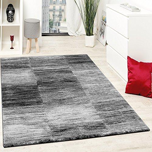 Designer-Teppich-Modern-Wohnzimmer-Teppiche-Kurzflor-Karo-Meliert-Grau-Schwarz-Grsse160x220-cm