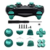 TOMSIN Metal Buttons for DualShock 4, Aluminum Metal Thumbsticks Analog Grip & Bullet Buttons & D-pad & L1 R1 L2 R2 Trigger for PS4 Controller Gen 1 (Green) (Color: Green)