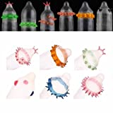 Novel Creative Latex Sensitive Massage Spike Dotted Ribbed Male Condom Cock Ring for Adult Sex Stimulator (6 definite style + 4 random style)