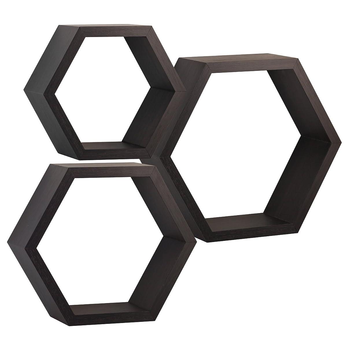 Halter Hexagonal Shaped Floating Shelves (Brown) For Wall/Room Decorative Display - Set of Three - Easy Installation,Screws & Hardware Included - Wood Veneer