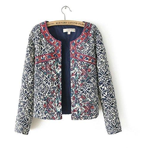 2016 New Blue And White Round Neck Jacket Embroidary Jacket Women Women Embroidery Slim Jacket Size:L