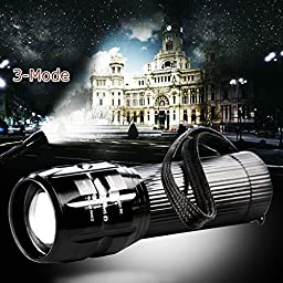 Lily\'s Gift 2000 Lumen Zoomable CREE Q5 LED 3 Mode Flashlight Torch Zoom Lamp Light AAA