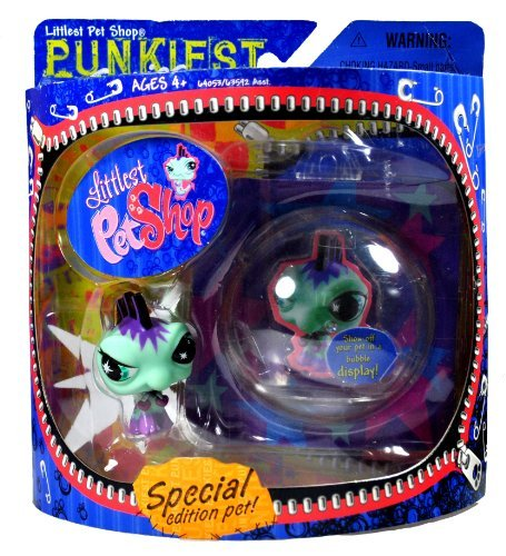 Hasbro Year 2007 Littlest Pet Shop Special Edition Pet PUNKIEST Series Bobble Head Pet Figure Set - Punk IGUANA...