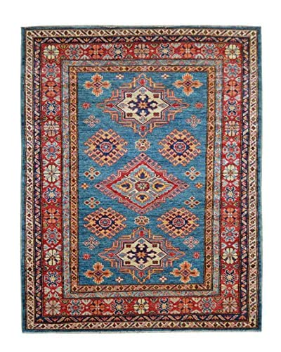 Kalaty One-of-a-Kind Kazak Rug, Blue, 4' x 5' 10