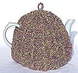Knit Tea Cozy Cosy Handmade Washable Lavender and Green Tones