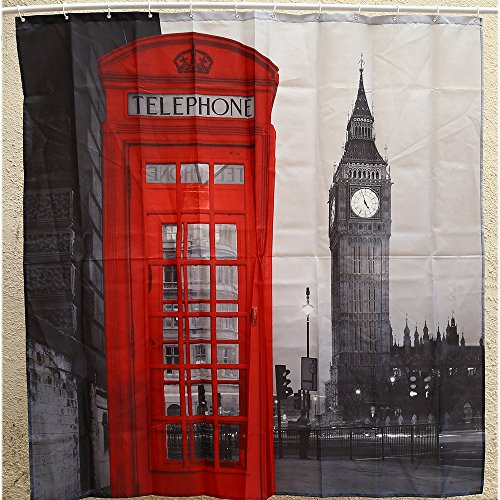 YOOYOO Creative London Big Ben Pattern Shower Curtain Polyester Waterproof Bathroom Decor