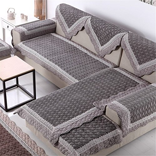 """OstepDecor Bright Velvet Non-Slip Quilted Furniture Protectors For Sofa With Multi Size Available, Grey, 36""""W x 36""""L (90 x 90cm)"""