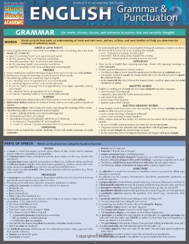 English Grammar & Punctuation (Quick Study Academic) (Quick Study Chart compare prices)