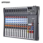ammoon 120S-USB 12 Channels Mic Line Audio Mixer Mixing Console USB XLR Input 3-band EQ 48V Phantom Power with Power Adapter from ammoon