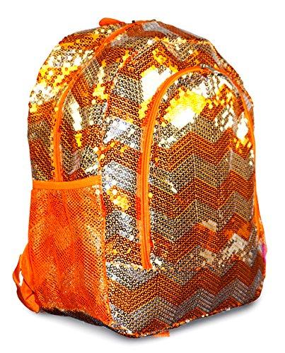 N. Gil Orange Gold Chevron Sequin Backpack School Bag