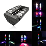 Mini Moving Head Light 8x3W DMX Spider with RGBW 4 Color LED for Stage Lighting Disco Pary Bar Event DJ (1 Pack) (Color: 1pc)