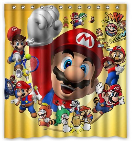 Rainy Pillow Home Polyester Bath Curtain Print Fashion Super Mario Custom Bathroom Shower Curtain Size 180x180cm (Ababy Personalized Shower Curtain compare prices)