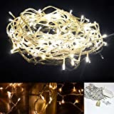 Accmor Christmas Led String Lights for Indoor and Outdoor- Bedroom or Xmas 33ft 100 Starry Decorations with 8 Modes - Perfect for Wedding and Party - Waterproof Warm White Lights