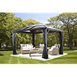 MERIDIEN 10'x12' - Charcoal (#77) Hard Top Sun Shelter, Aluminum Structure, 8mm Polycarbonate Roof, 2 Tracks, Mosquito Netting Included