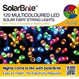 Solar Brite Deluxe Multi Coloured Solar Fairy Lights 120 LED Super Bright Decorative String, choice of light effect. Ideal for Trees, Gardens, Parties & More...by Solar Brite