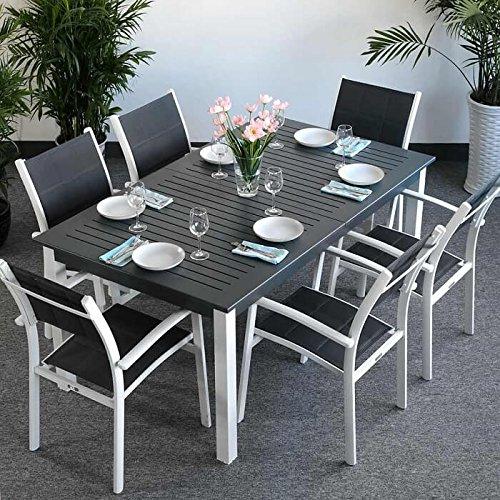 Virginia Tisch & 6 Stuhle - WEIß & GRAU | Gartenmöbel-Set mit ausziehbarem 244cm Tisch