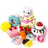 SYYISA Jumbo Squishies Slow Rising [12-Pack]: Bear Cake, Ice Cream, Donut, Macaron, Starawberry Cake, and Waffles Kawaii Soft Food Squishy Toys - Squishys are Great Sensory Toys for Kids! Comes in Mix