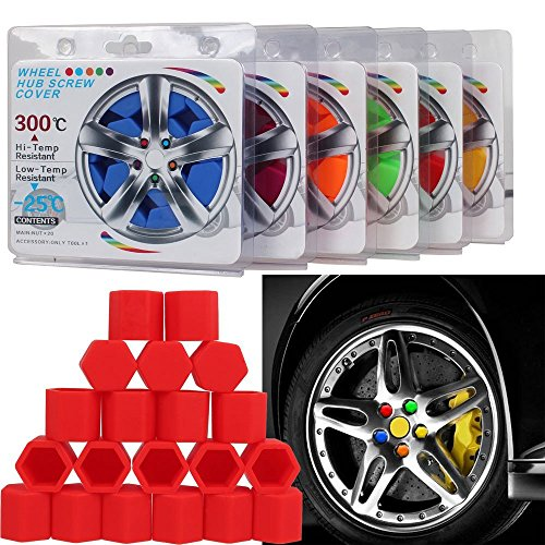 One Set 20 Pieces Color Wheel Lug Nut Bolt Cover Protective Caps (17mm, Yellow) (Pontiac G8 Lug Nut Covers compare prices)