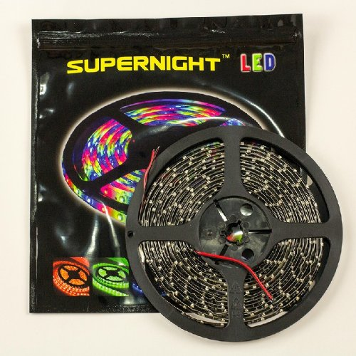 Supernight (Tm) 16.4Ft 5M Black Pcb Smd 3528 Red Led Cuttable Strip For Diy Decoration, High Density Flexible Led Strip, Waterproof, 60Leds/M, 300 Leds Led Light Ribbon