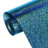 Holographic Heat Transfer Vinyl Blue Iron on Vinyl Glitter Vinyl Heat Transfer Vinyl for T-Shirts 12