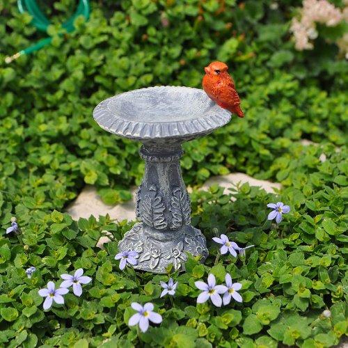 Miniature Fairy Garden Cardinal Birdbath Pick –